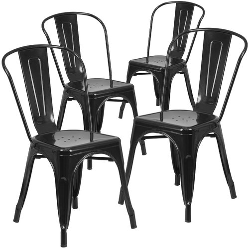 Delicieux Flash Furniture Metal Indoor Outdoor Chair, 4 Pack, Multiple Colors