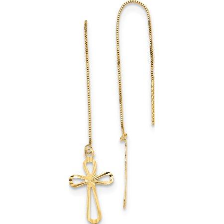 14k Yellow Gold Polished D/C Box Chain w/Cross Threader (10x74mm) Earrings 14k Gold Threader Earrings