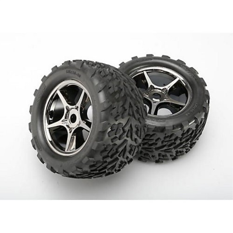 Traxxas 5374X Talon Tires Pre-Glued On Gemini Black-Chrome Wheels, TSM rated, 17mm hubs... by Traxxas