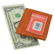 Genuine leather moneyclip with credit card and ID holder