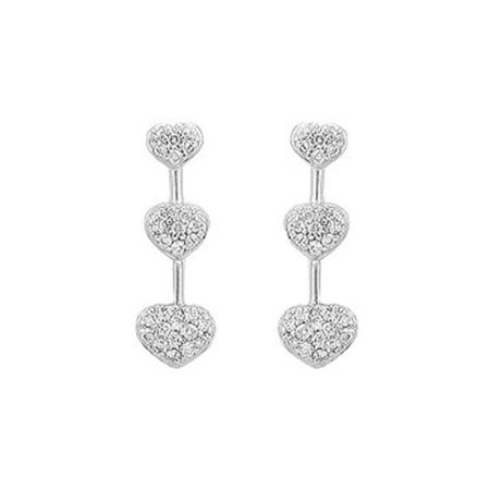 UBER9006W14D-101 Diamond Heart Journey Earrings : 14K White Gold - 0.50 CT Diamonds