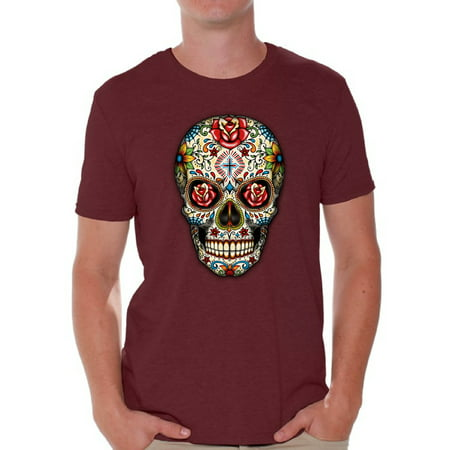 Awkward Styles Rose Eyes Skull Tshirt for Men Sugar Skull Roses Shirt Sugar Skull T Shirt Dia de los Muertos Outfit Day of the Dead Gifts Halloween Shirts Men's Skull Tshirt Red Rose Skull Shirt - Gifs De Halloween