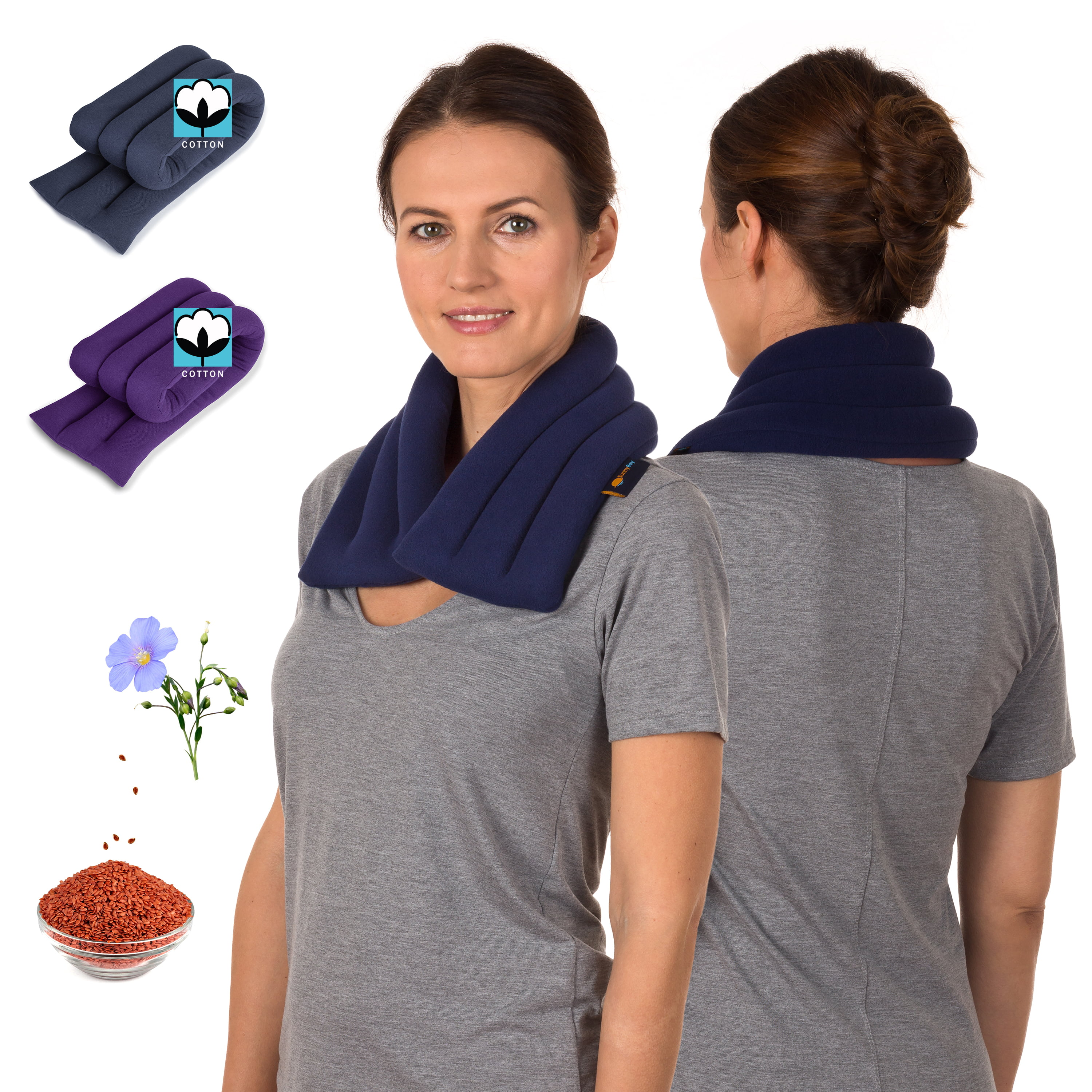 Sunny Bay Light Weight Heated Neck Wrap, Extra Long Neck Heating Wrap, Flax Seeds Filled, Best For Neck Pain Relief