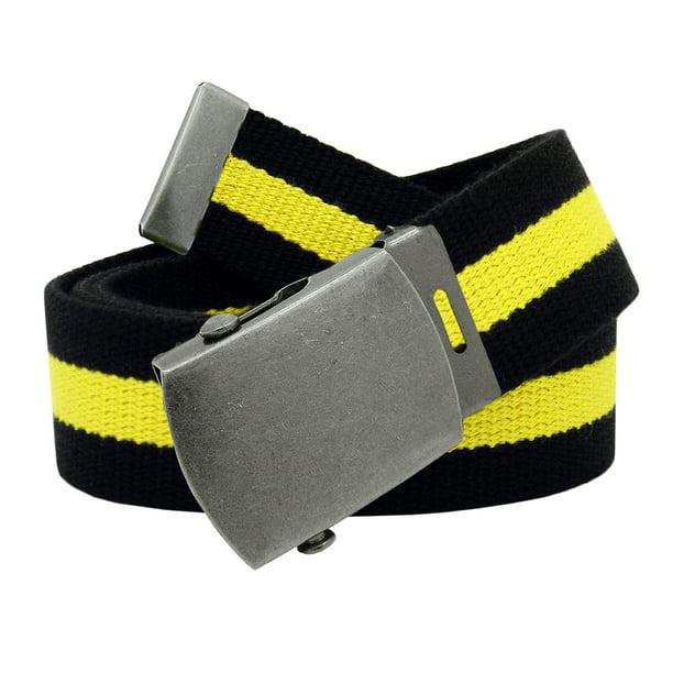 Boys Uniform Distressed Silver Star Slider Military Belt Buckle with Canvas Belt