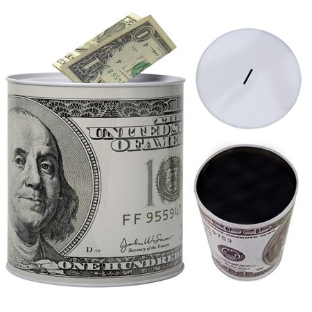 1 Tin Money Savings Piggy Bank with Ben Franklin $100 Bill Money Coin Saver 6