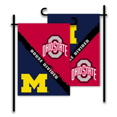 Bsi Products Inc Michigan   Ohio St 2 Sided Garden Flag   Rivalry House Divided Garden Flag