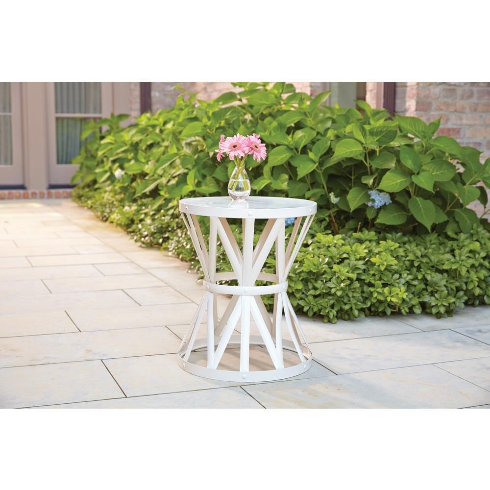 Groovy Hampton Bay Hd16023A 18 9 In Round Metal Garden Stool In Chalk Alphanode Cool Chair Designs And Ideas Alphanodeonline