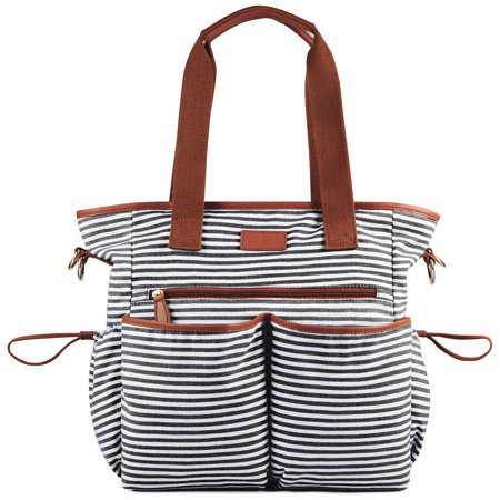 Plambag Striped Diaper Bag Baby Ny Tote Shoulder With Changing Pad