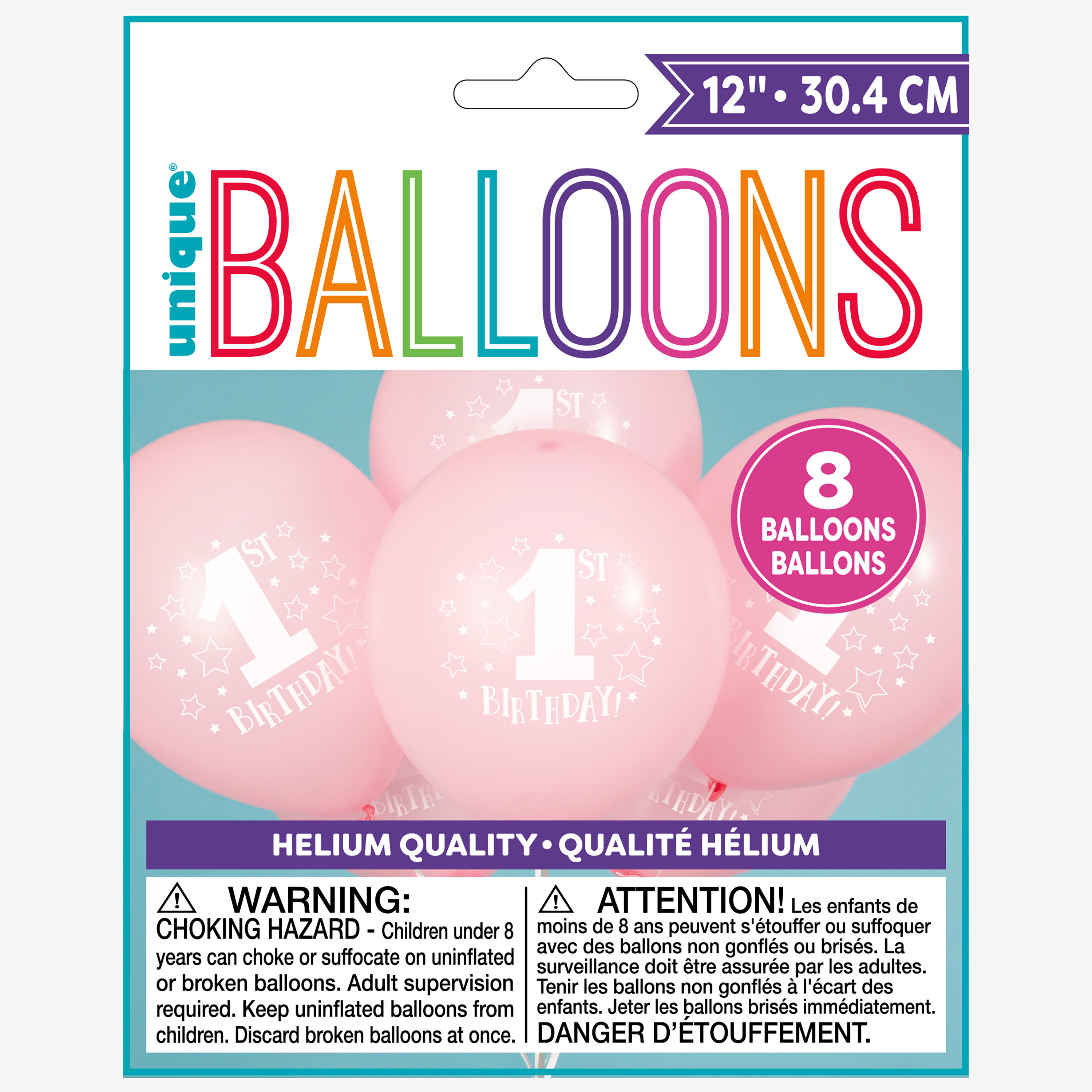 Latex Stars Girl 1st Birthday Balloons, Light Pink, 12 in, 8ct