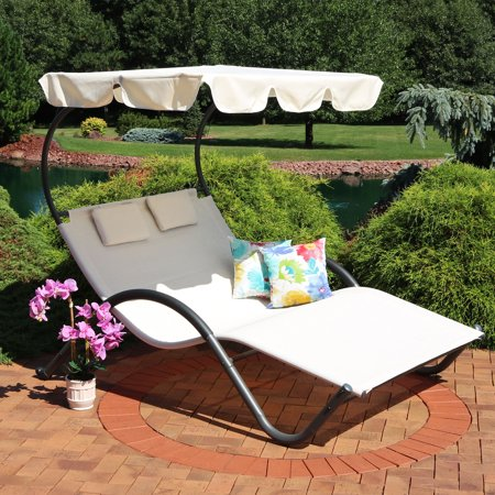 Sunnydaze Outdoor Double Chaise Lounge with Canopy Shade and Headrest Pillows, Portable Patio Sun Lounger, Beige ()