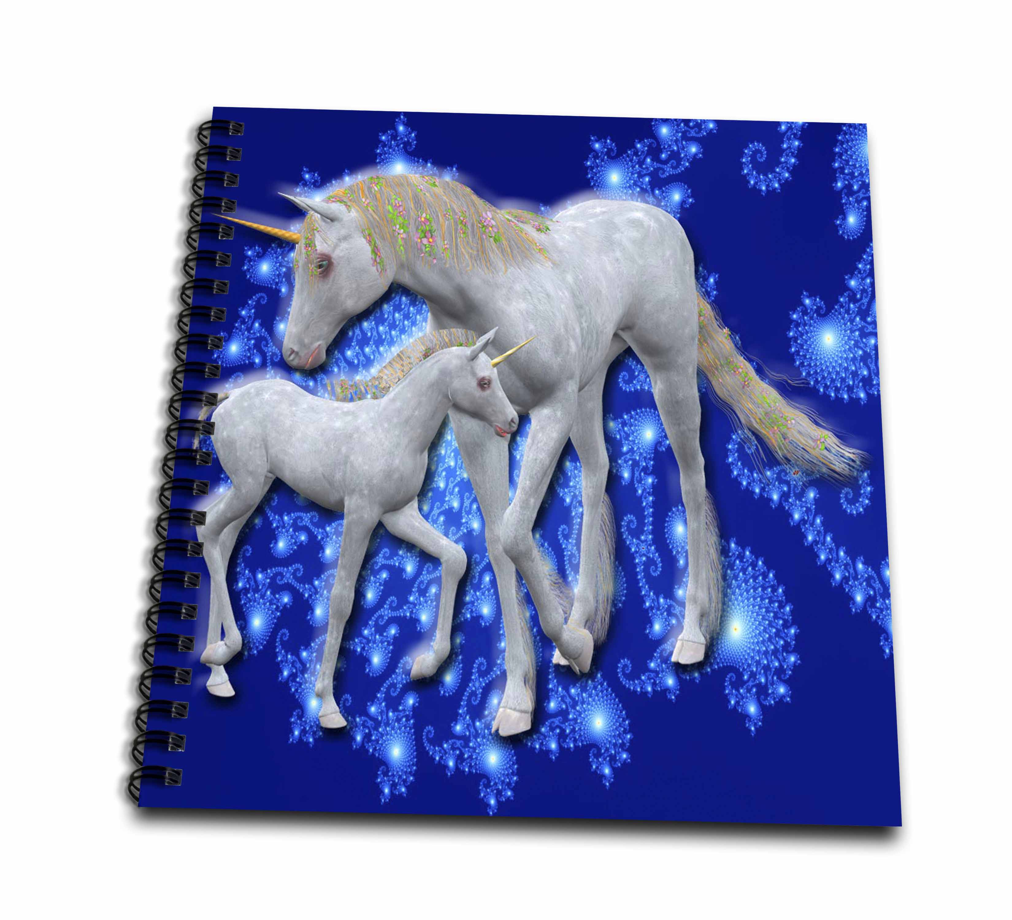 3dRose Unicorn Mother and Baby with twilight background - Drawing Book, 8 by 8-inch