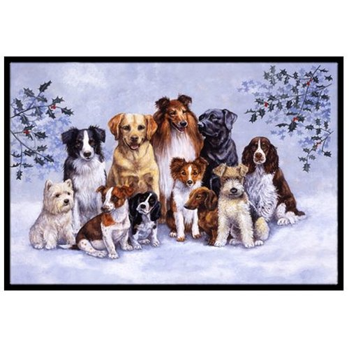 Winter Dogs Door Mat
