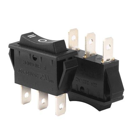 264v Switch - AC 20A/125V 22A/250V SPDT 3P On/Off/On 3 Position Boat Rocker Switch Black