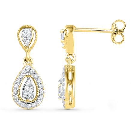 10K Yellow Gold Diamond Teardrop Dangle Screwback Earrings 1 3 Ctw