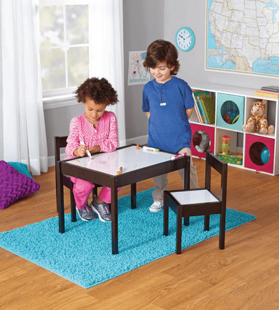 Mainstays Kids 3-Piece Dry Erase Table and Chairs Set, Espresso