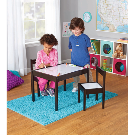 Mainstays Kids 3-Piece Dry Erase Table and Chairs Set, Espresso](Art Tables For Toddlers)