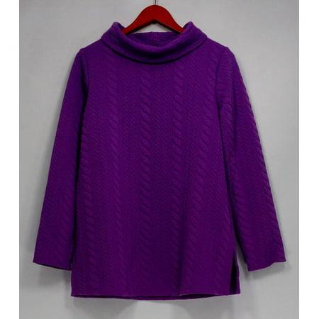 - George Simonton Top Sz S Cable Knit w/ Funnel Neck Purple A257569