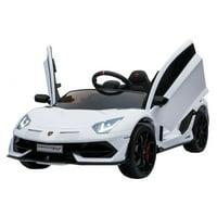 Lamborghini SVJ Kids Ride On Car Plays Music Butterfly Doors - White