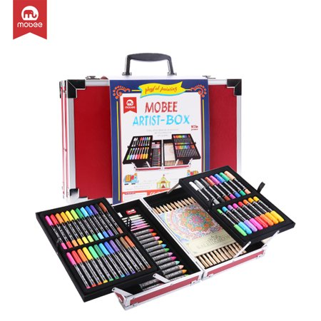 Mobee 97-Piece Artist Box Art Set with Aluminum Case, Kids Art Suppliers for Painting and Drawing Pencil Crayon Set Art Kit (Drawing Pencil Kit)