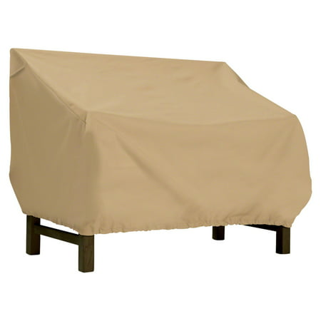 """Classic Accessories Terrazzo Patio Bench & Patio Loveseat Cover - All Weather Protection Outdoor Furniture Cover, 87""""L x 32""""W x 33""""H, Large, Sand"""