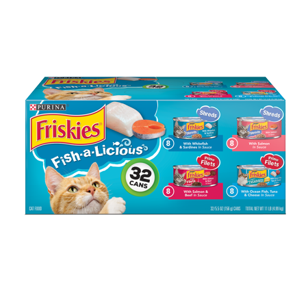 Friskies Wet Cat Food Variety Pack, Fish-A-Licious Shreds, Prime Filets & Tasty Treasures - (32) 5.5 oz. (Orijen 6 Fish)