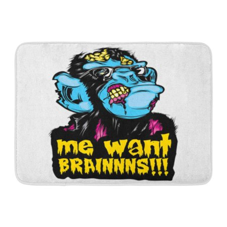 SIDONKU Zombie Monkey Chimp Colorful Pop Culture Halloween Me Want Doormat Floor Rug Bath Mat 30x18 inch](Halloween In Different Cultures)