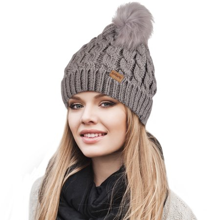 Womens Pom Pom Beanie Winter Hat Stretch Soft Knit Skull Ski Cap, Best gifts for Birthday,