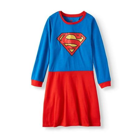 DC Comics Super-Girl Long Sleeve Nightgown Pajama Girl Size 4/5 - Superhero Nightgown