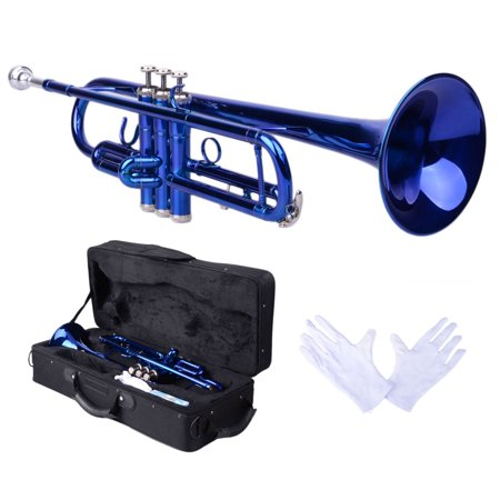 Zimtown New Bb Beginner School Band Trumpet with Mouthpiece Case Blue