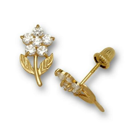 14k Yellow Gold April Clear CZ Flower Leaves Screw-Back Earrings - Measures 11x6mm Yellow Gold Flower Earrings