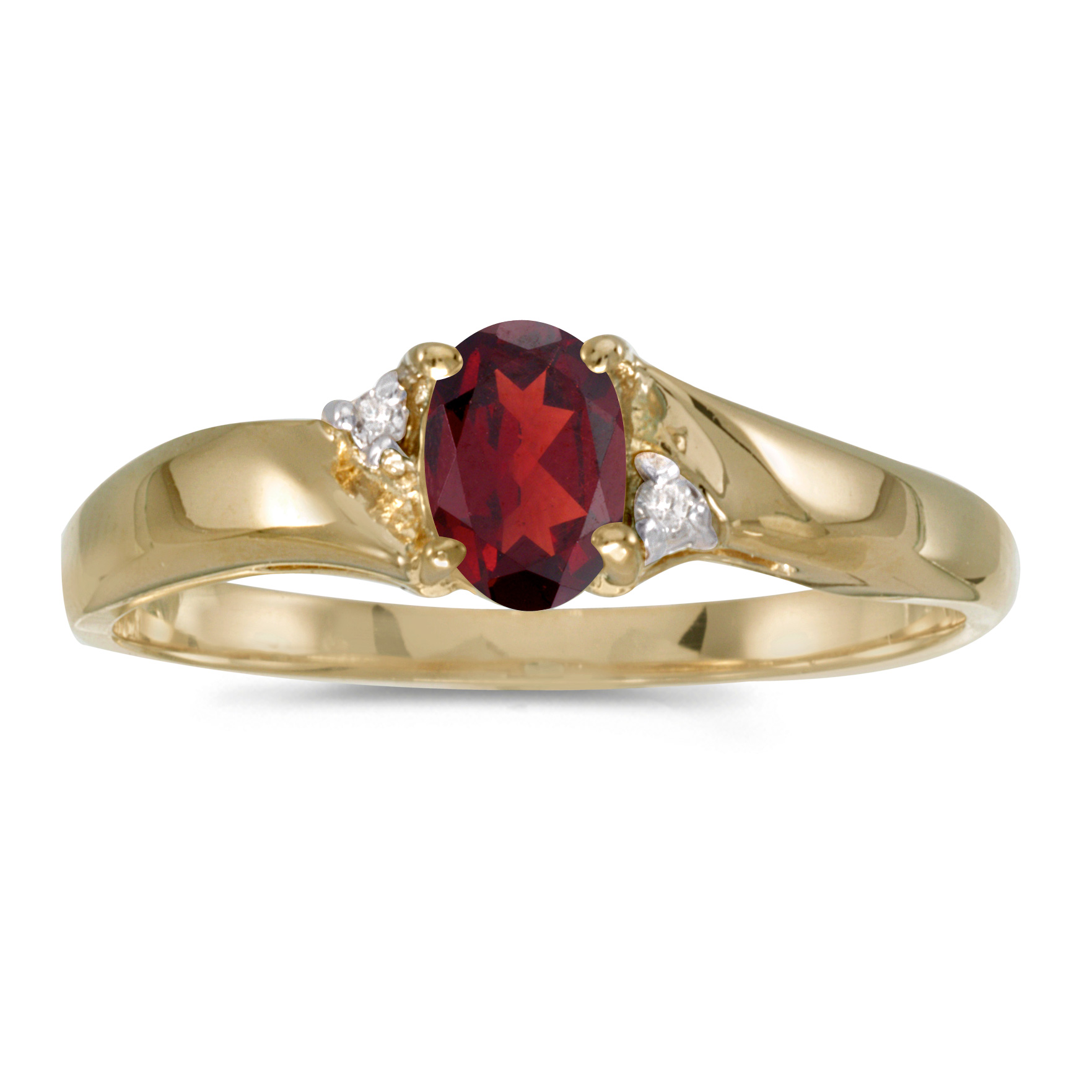 14k Yellow Gold Oval Garnet And Diamond Ring by