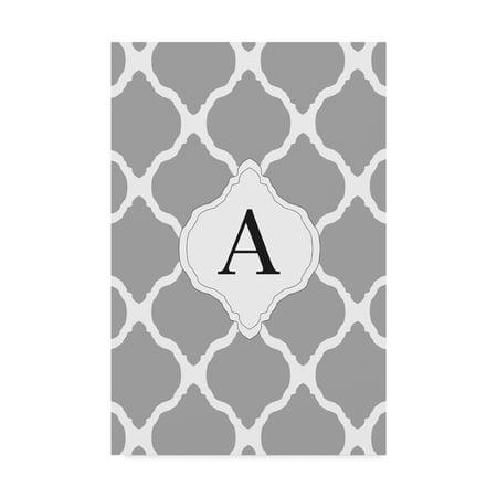 Trademark Fine Art 'A Gray Monogram' Canvas Art by Art Licensing Studio - Monogram Canvas