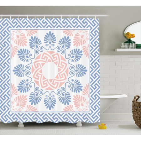 Greek Key Shower Curtain Pastel Pink White And Blue Round Floral Grecian Fret Hellenic Ornament