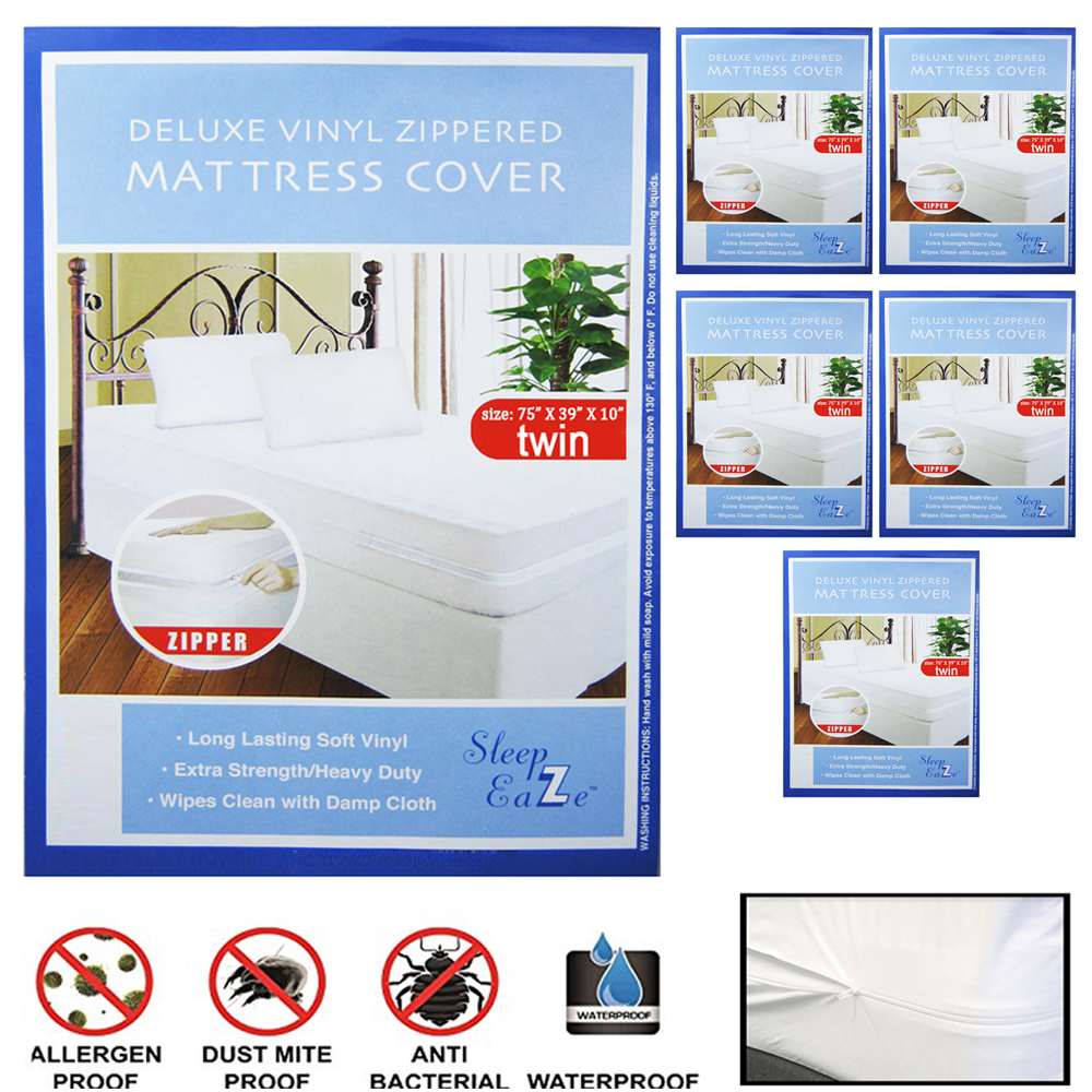 6X Twin Size Bed Mattress Cover Zipper Plastic Waterproof Bed Bug Protector Mite