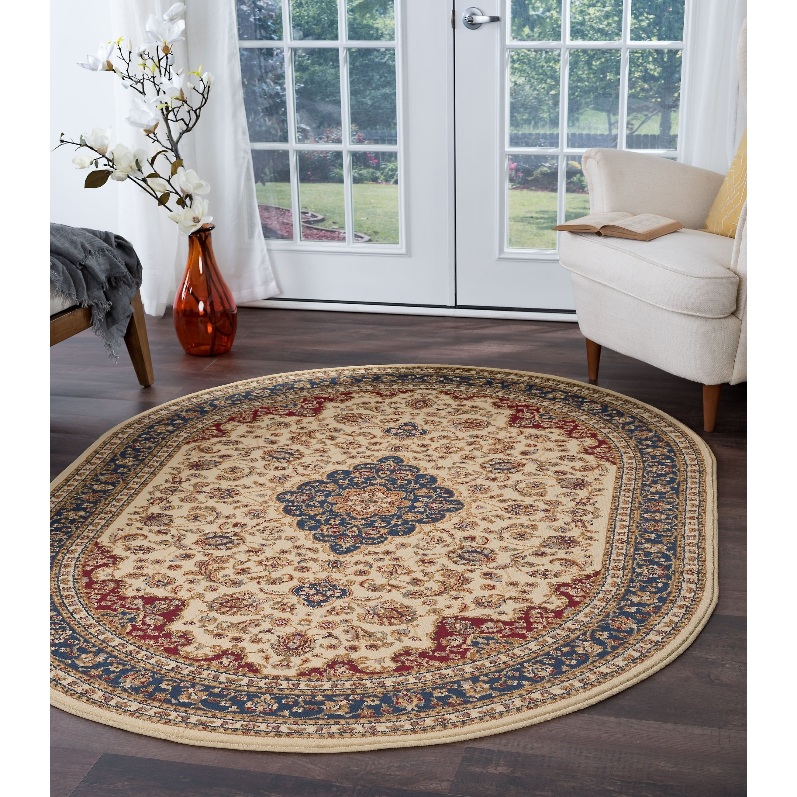 Alise rugs soho traditional oriental oval area rug 67 x 96 ivory red navy green walmart com