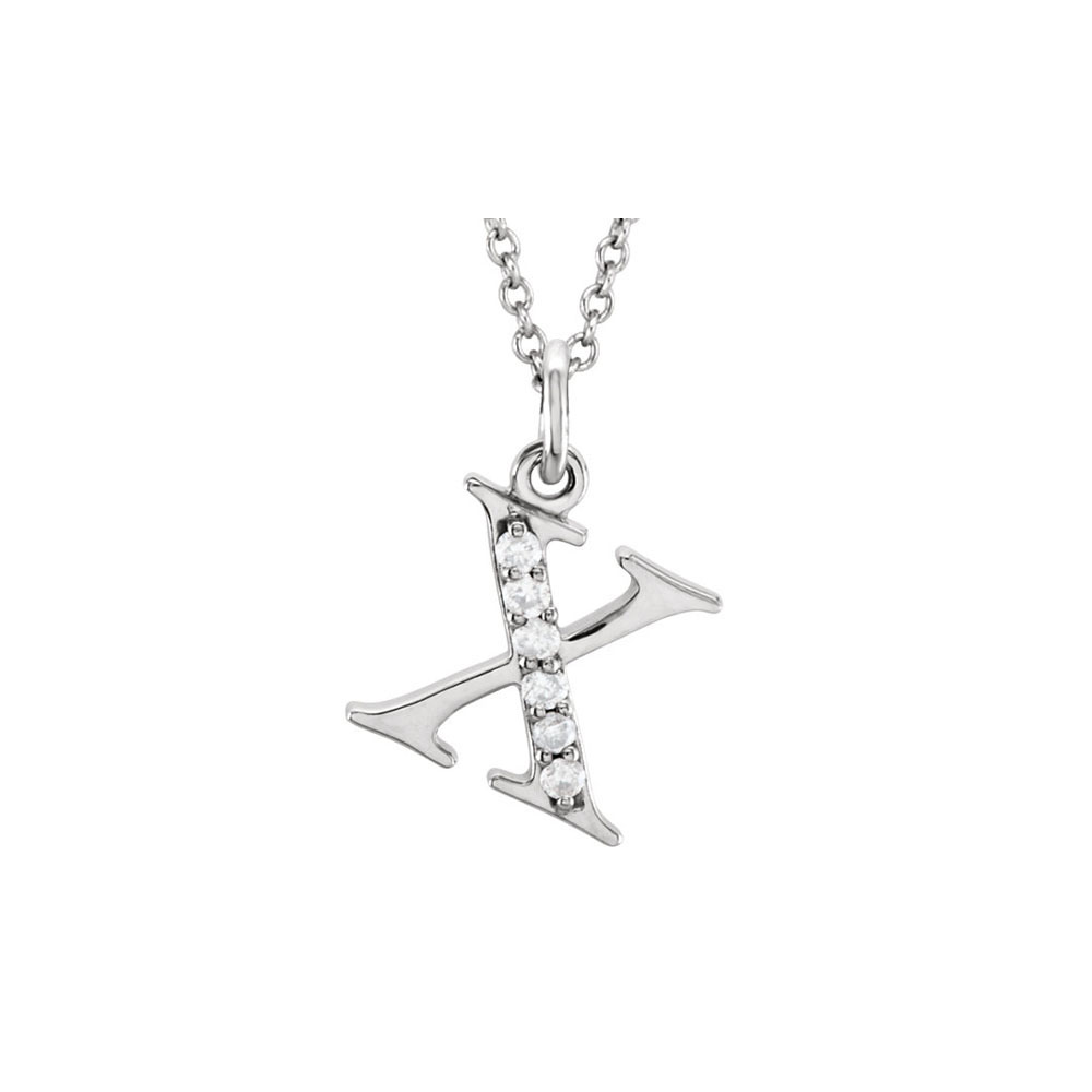 Conflict Free Diamond X Initial Pendant in 14K White Gold Wonderful Design Cool Price Range - image 2 de 2