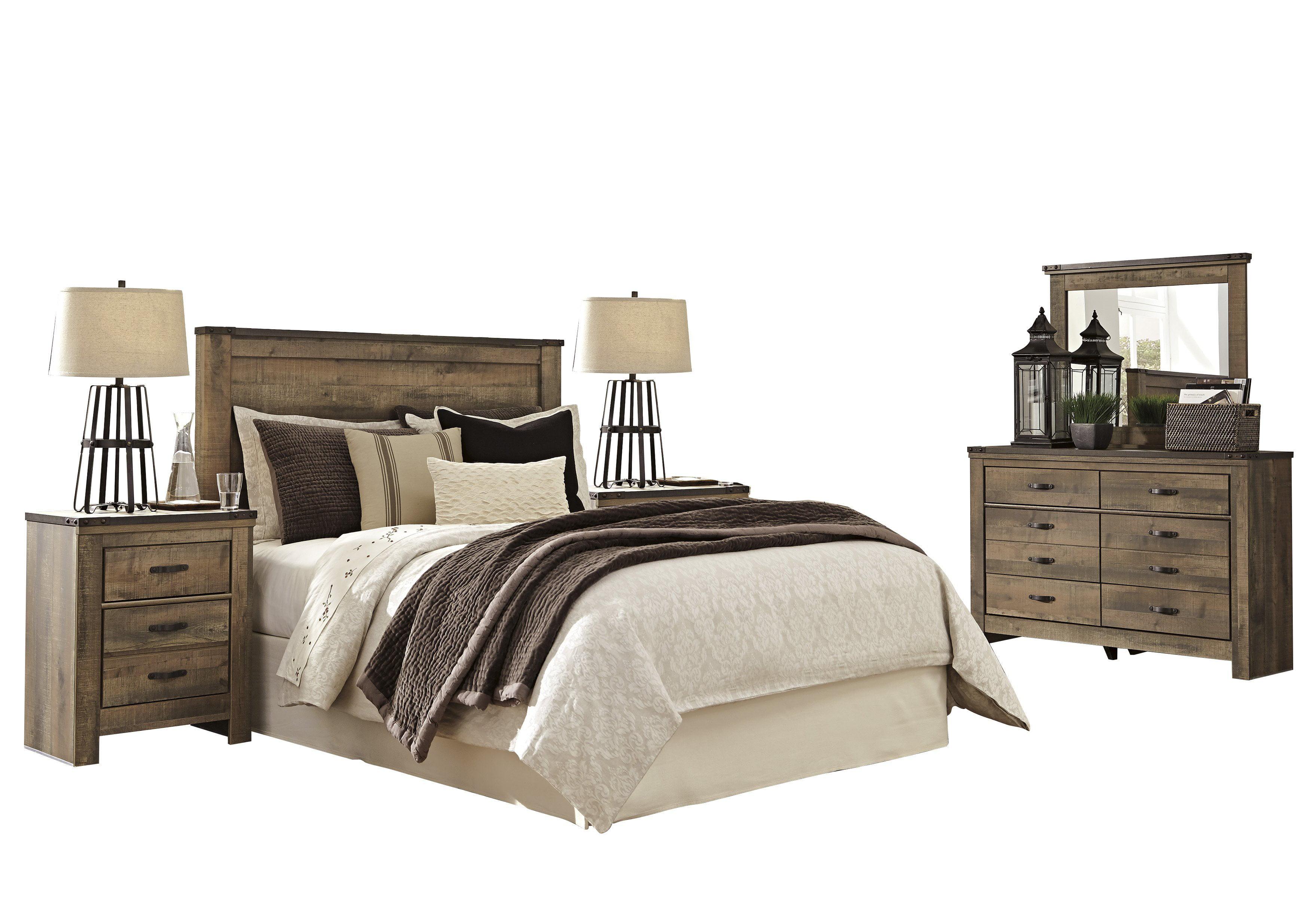 Ashley Furniture Trinell 5 Pc Bedroom Set E King Panel Headboard 2 Nightstand Dresser Mirror Brown Walmart Com Walmart Com
