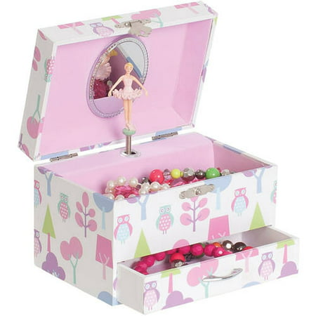 Molly Girls' Musical Ballerina Jewelry Box, Owl Pattern Diamond Platinum Jewelry Box