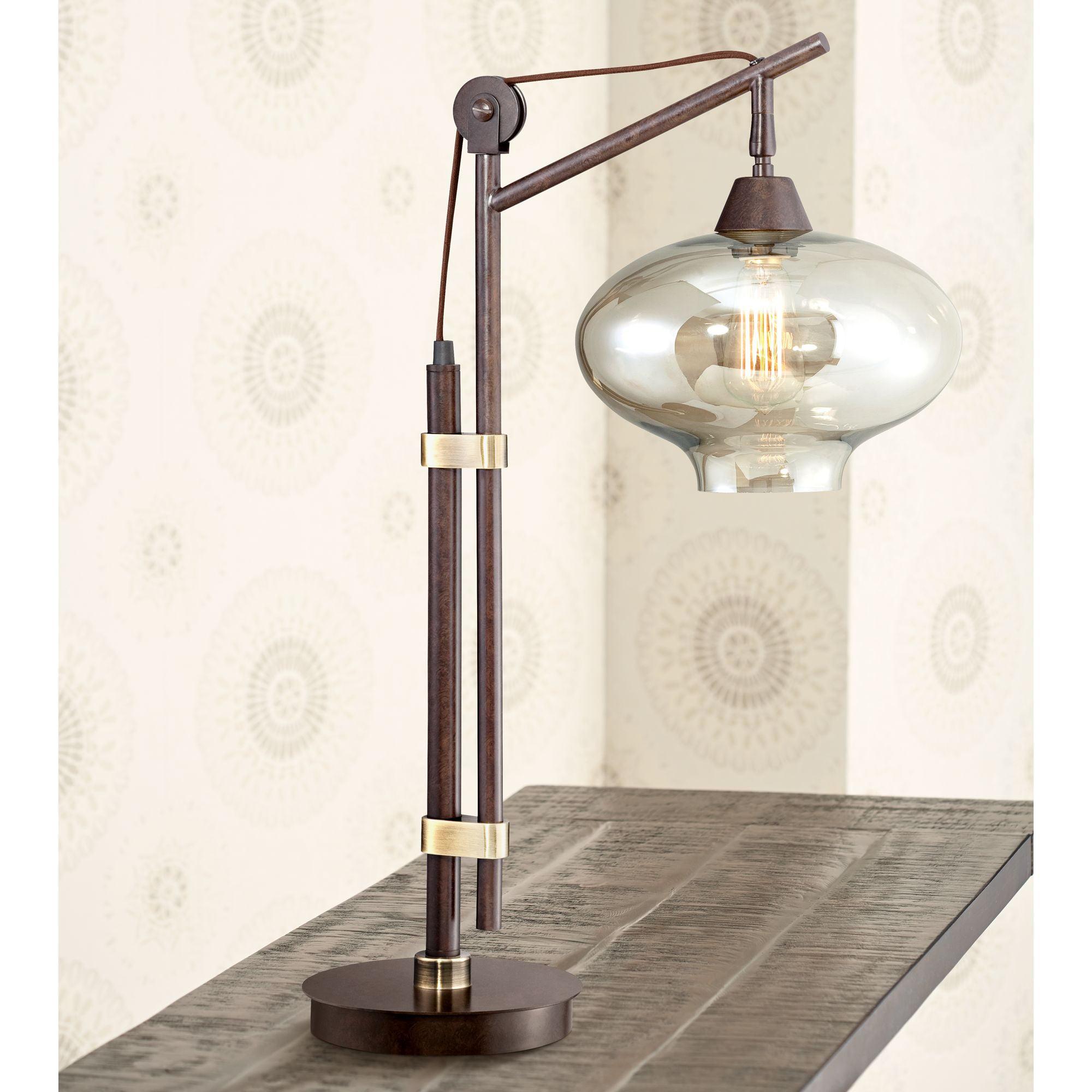 Franklin Iron Works Calyx Cognac Glass Industrial Bronze Desk Lamp by Franklin Iron Works