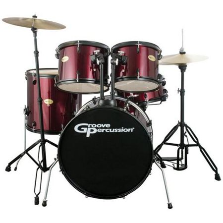 Groove Percussion DK120WRB 5 Piece Drum Set with Cymbals and Hardware
