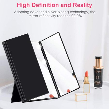 Premium Tri-Fold Led Lighted Travel Makeup Mirror, Portable and Compact Cosmetic Mirrors, Pocket Vanity Mirrors with Adjustable Stand (Black)