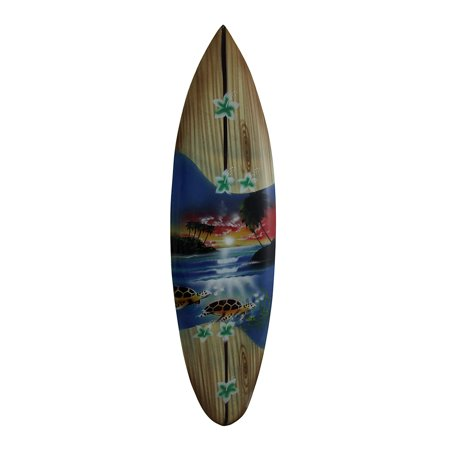 Tropical Air Brushed Mini Wooden Surfboard Wall Hanging 20 Inch ()