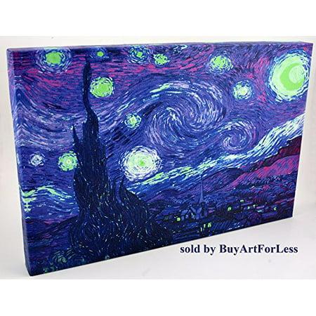 Starry Night Purple Imitation by Kelissa Semple 20X16 Canvas Gallery Wrap Giclee Edition Art Print Poster Wall Decor Violet Green Pop Art Color Splash NYC LA Hollywood