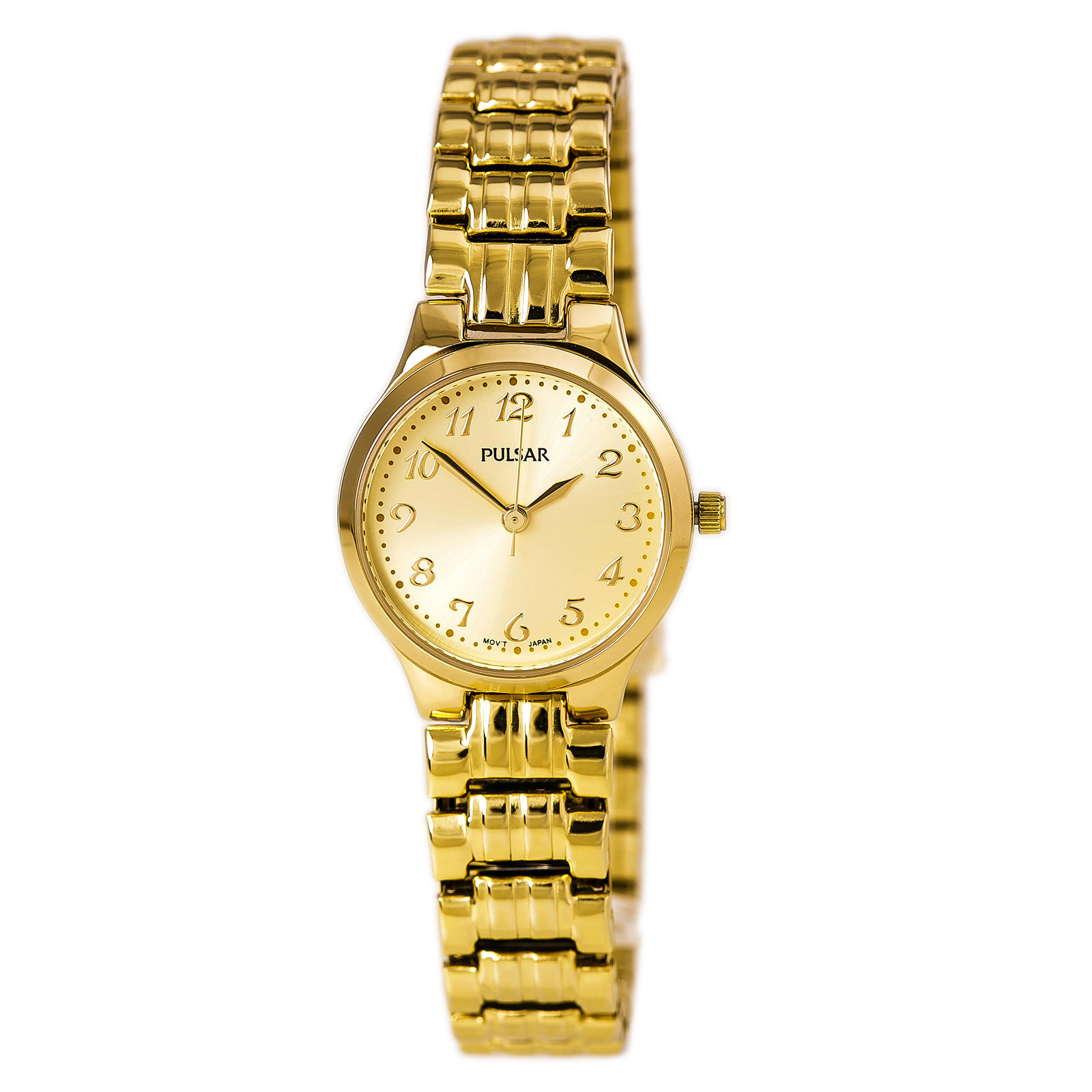 Pulsar PG2034 Women's Traditional Gold Dial Yellow Gold Steel Expansion Bracelet Watch
