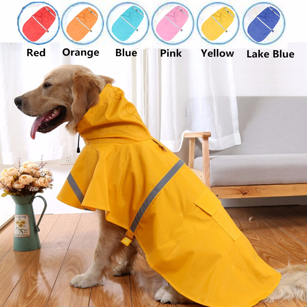 Waterproof Dog Raincoat Pet Clothes Hoodie Jacket Poncho Outdoor with Reflective Strip For Dog