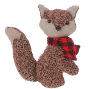 "4.5"" Alpine Chic Brown Stuffed Fox with Red and Black Scarf Christmas Ornament"