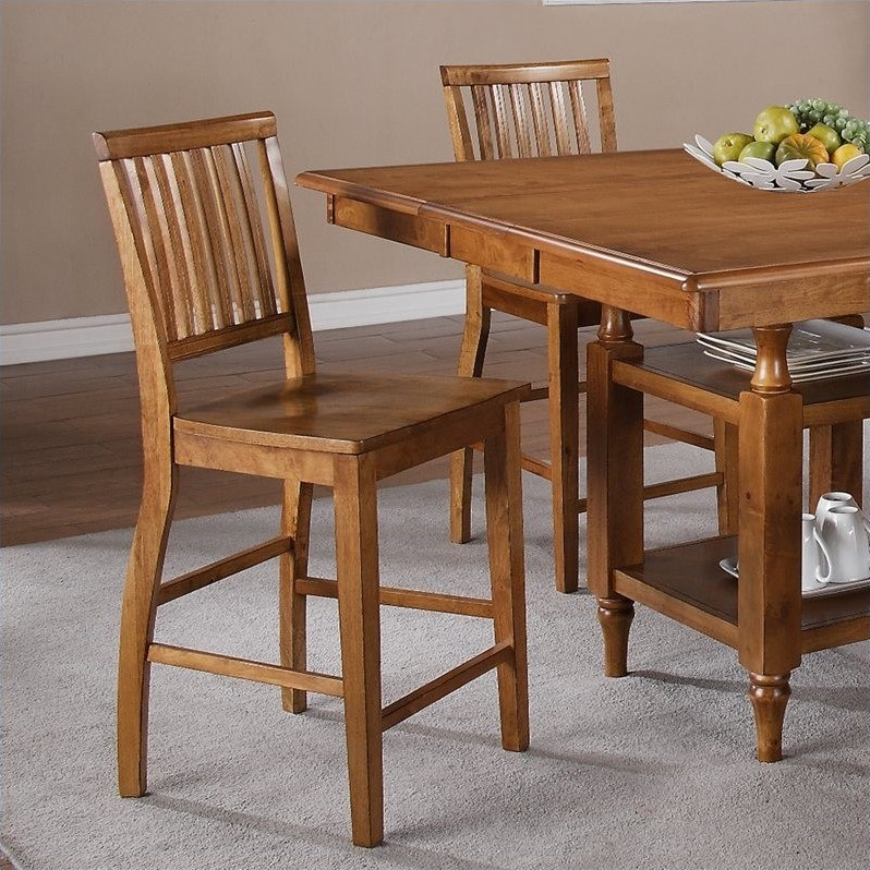 Steve Silver Company Candice Counter Height Dining Chair in Oak (set of 2)