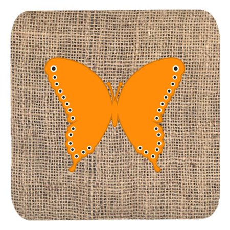Butterfly Burlap And Orange Foam Coasters - Set 4, 3.5 x 3.5 In. - image 1 of 1