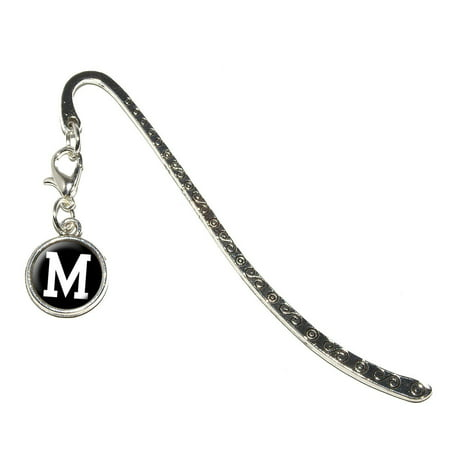 Letter M Initial Black White Metal Bookmark with Charm](Bookmark Timer)