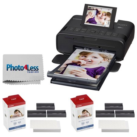 Canon SELPHY CP1300 Compact Photo Printer (Black) + 2x Canon KP-108IN Color Ink and Paper Set + Photo4Less Cleaning Cloth - Deluxe Value Printing Bundle - Deluxe Printing